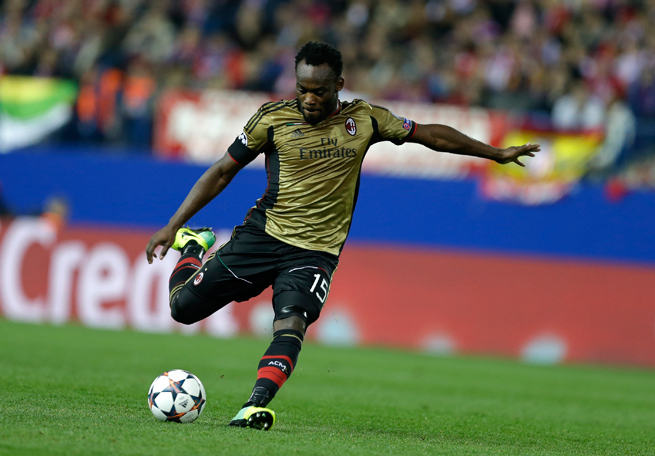 AC Milan and Ghana midfielder Michael Essien will miss a couple of weeks with a thigh injury.