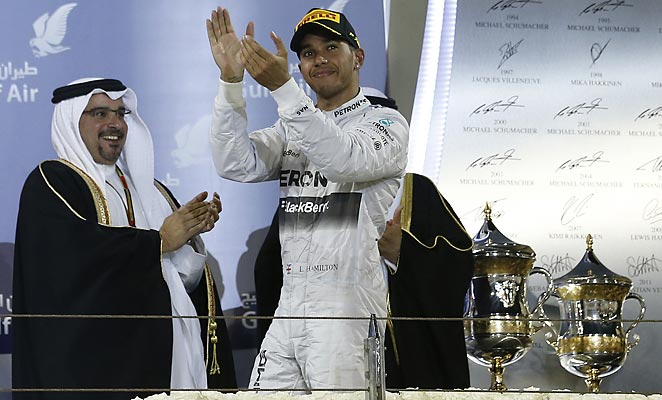 Lewis Hamilton barely edged out his Mercedes teammate to capture the Bahrain Grand Prix.