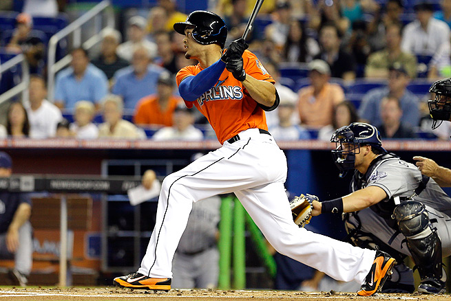 Giancarlo Stanton has two home runs and a .345 batting average through the first week of the season.