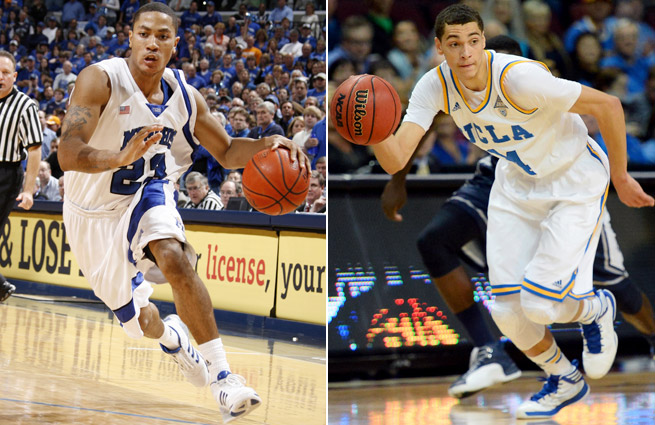 Projecting one-and-done players isn't always as easy as it was with Derrick Rose (left) out of Memphis. UCLA guard Zach LaVine (right) is a bigger mystery.