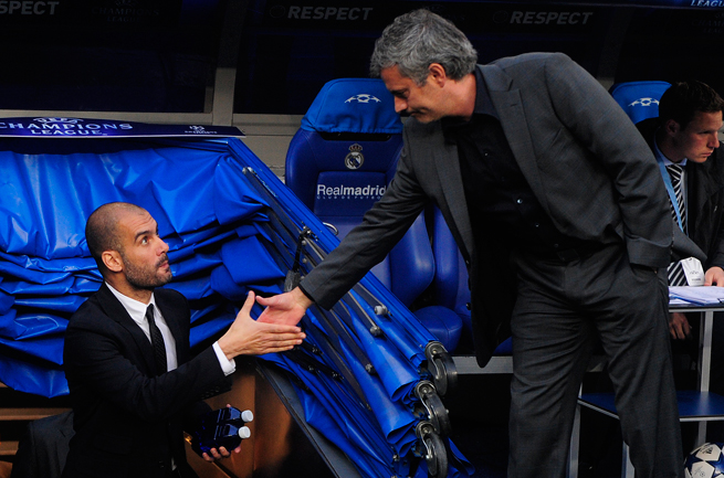 Might Pep Guardiola, left, and Jose Mourinho renew pleasantries in the UEFA Champions League final? Their current teams, Bayern Munich and Chelsea, are on opposite sides of the semifinal draw.