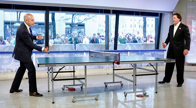 "Lauer and Mickelson play ping-pong on the ""Today"" show in New York City."