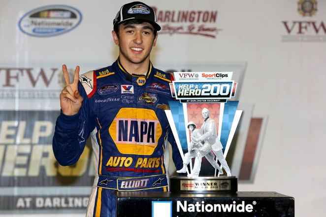 Chase, the 18-year-old son of NASCAR great Bill Elliott raced to his second straight Nationwide Series victory.