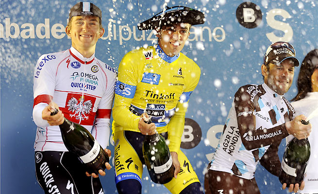 Alberto Contador (in yellow) seems to have put last year's struggles behind him with two wins in 2014.