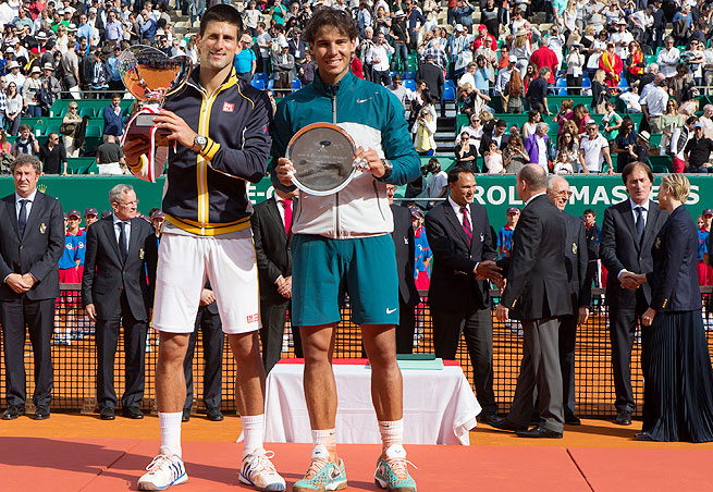 Novak Djokovic (left) ended Rafael Nadal's eight-year streak in Monaco in 2013 with a 6-2, 7-6 (1) win.