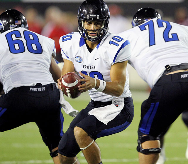 Jimmy Garoppolo, who broke most of Tony Romo's records at their alma mater, Eastern Illinois, got himself on the map with a strong Senior Bowl week. This led some to speculate that like Romo, Garoppolo could be a sneaky underrated prospect made for NFL success. However, a hard look at his tape reveals a fundamental flaw that will either delay or destroy that hope -- not only does Garoppolo get jittery and balky in the pocket under pressure; but also he bails and leaves plays on the field when he even perceives pressure. If he can get that sorted out, Garoppolo has the skillset to become a medium-grade NFL asset. <italics>Draft projection: Round 2-Round 3</italics>