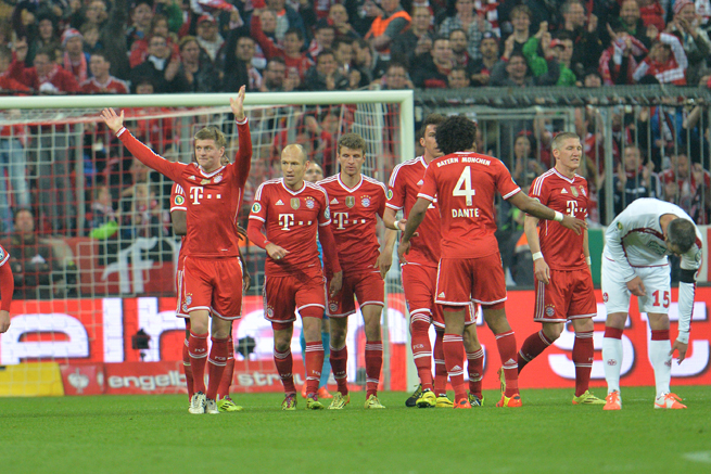 Bayern Munich's Toni Kroos, left, celebrates his goal against Kaiserslautern in Wednesday's cup semifinal triumph.