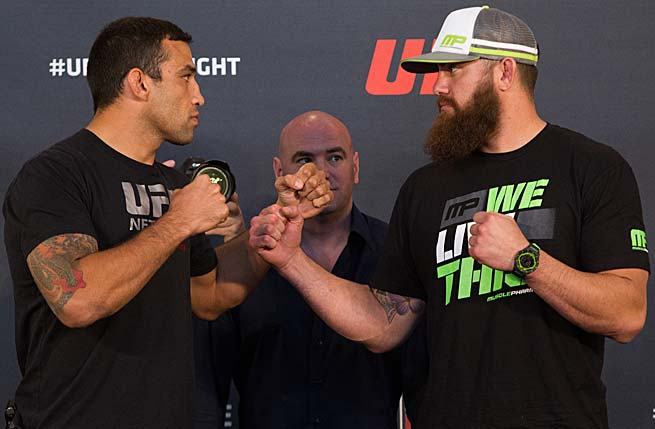 Fabrico Werdum (left) and Travis Browne are No. 3 and 4, respectively, in most UFC heavyweight rankings.