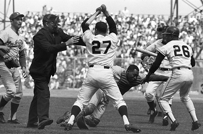 Chaos erupted after the Giants' Juan Marichal clubbed Dodgers catcher Johnny Roseboro in the head with his bat on Aug. 22, 1965.