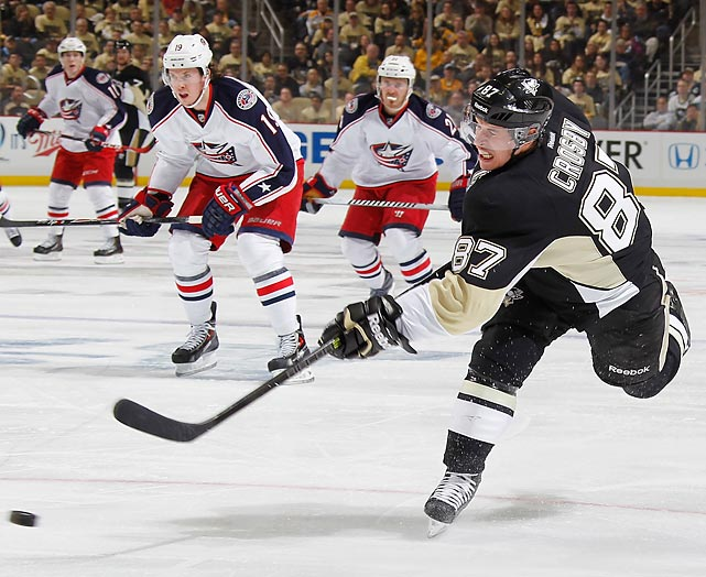 Sidney Crosby of the Pittsburgh Penguins rips a shot against the Columbus Blue Jackets.