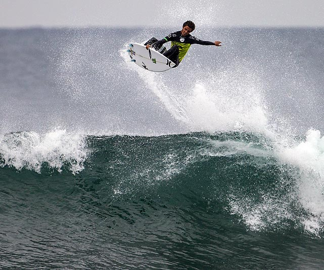 Filipe Toledo of Brazil catches air at the Rip Curl Pro Bells Beach in Bells Beach, Australia.