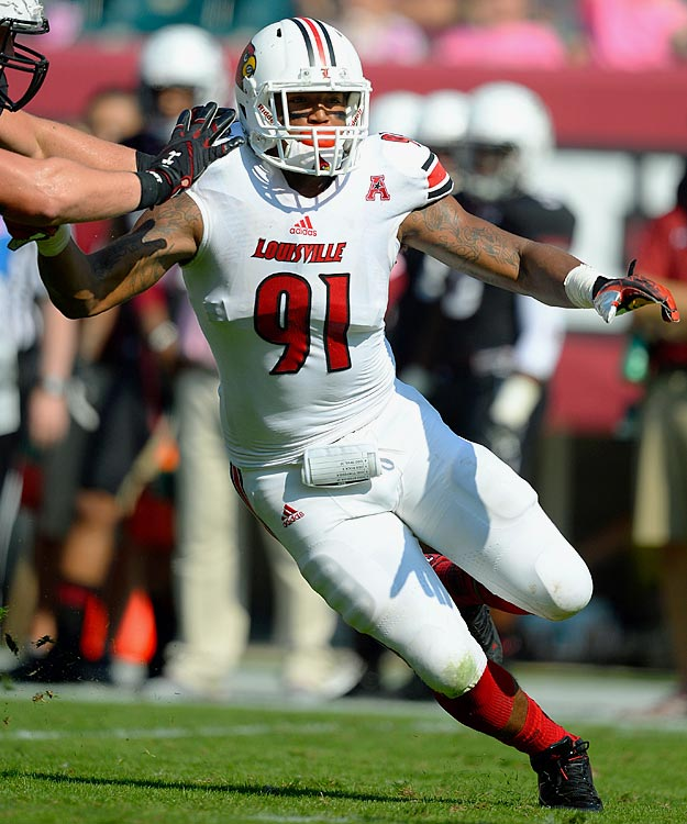Another DE enjoying some positive buzz at just the right time, Marcus Smith actually landed at Louisville as a three-star quarterback recruit before moving to linebacker, then eventually to an end spot. The switch was brilliant -- Smith was named the AAC Defensive Player of the Year last season thanks to 14.5 sacks. <italics>Draft projection: Round 3</italics>