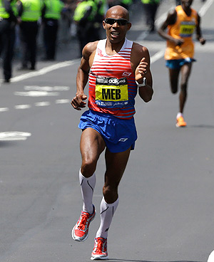 Meb Keflezighi wrote the names of the four victims from the 2013 bombings in the corners of his race bib.