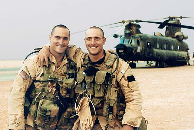 Pat (left) and his brother Kevin were deployed to Saudi Arabia for the U.S. invasion of Iraq in March 2003.