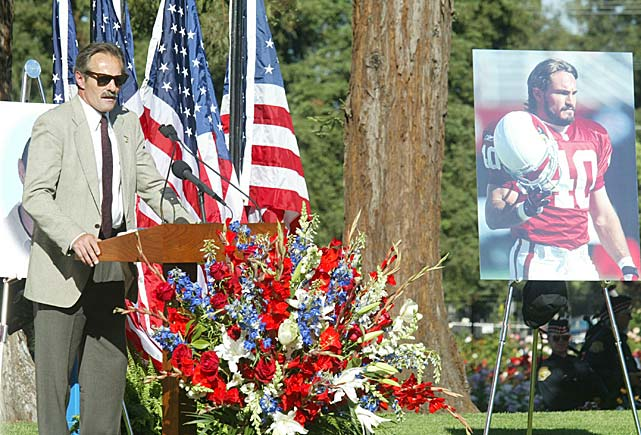 Pat Tillman Sr. speaks at a public memorial for his son, who died in the mountains of Afghanistan. Tillman was the first pro football player to be killed in combat since 1970, when Bob Kalsu died in the Vietnam War.