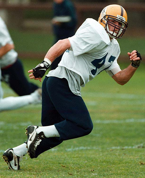 One of the college all-stars picked to play in the 1998 East-West Shrine Classic, Tillman got ready for the game by practicing at Stanford University.