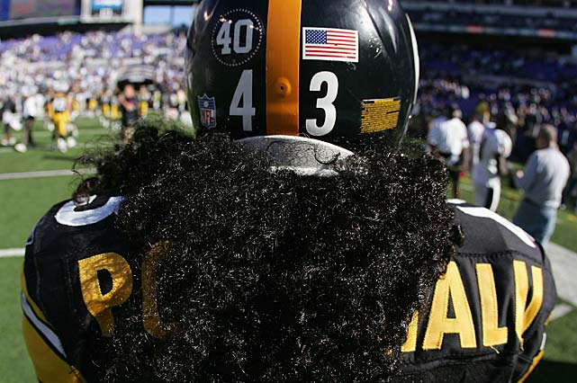 Troy Polamalu of the Pittsburgh Steelers and all the NFL players helmets were adorned with No. 40 on Sept. 19, 2004, in memory of Tillman.