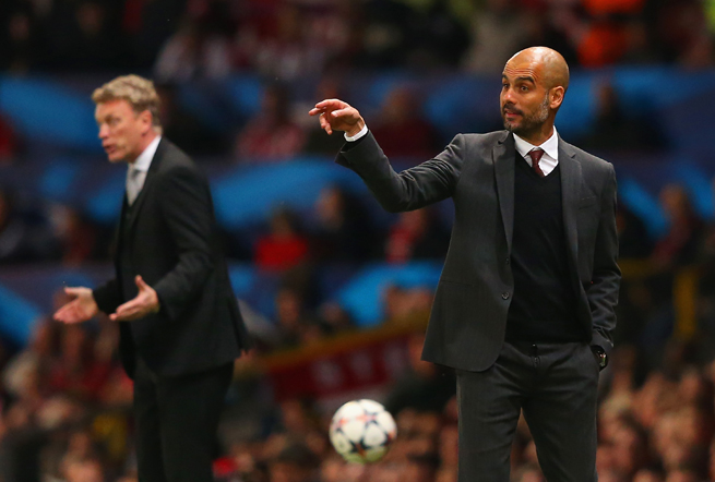 Bayern Munich manager Pep Guardiola, right, says he has no interest in taking over for ousted Manchester United manager David Moyes, left.