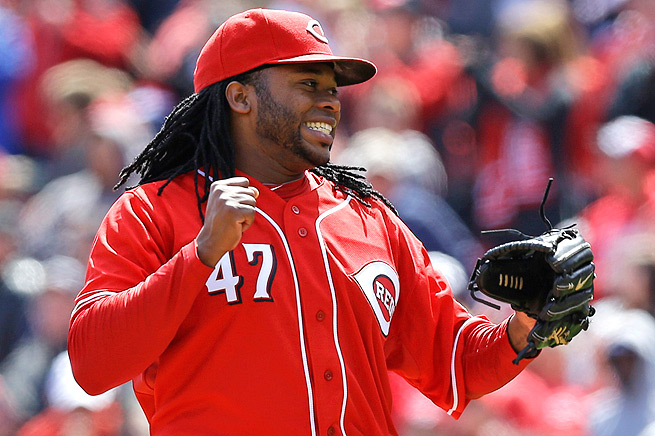Johnny Cueto celebrates after throwing a complete game shutout against the Pirates on April 16.
