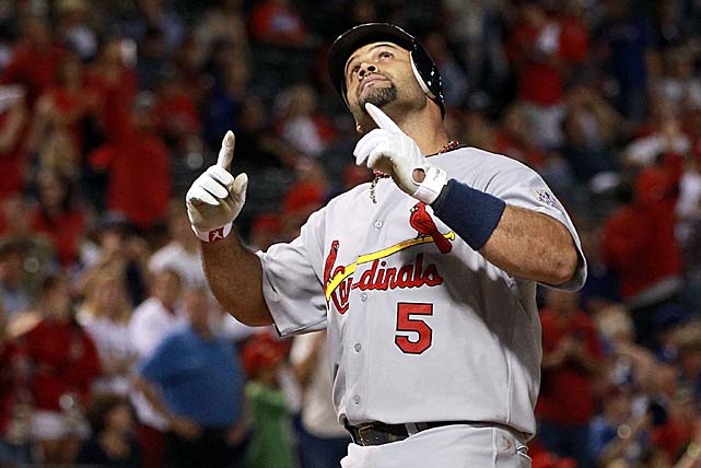 Pujols had the most productive game in World Series history, going 5-for-6 with three homers and six RBIs, leading the Cards past the Rangers 16-7 in Game 3. Pujols became the third player to hit three homers in a Series game, joining Babe Ruth, who did it in 1926 and again in 1928, and Reggie Jackson's performance in 1977. His six RBIs tied the record in a game, matching Bobby Richardson in 1960 and Hideki Matsui in 2009.