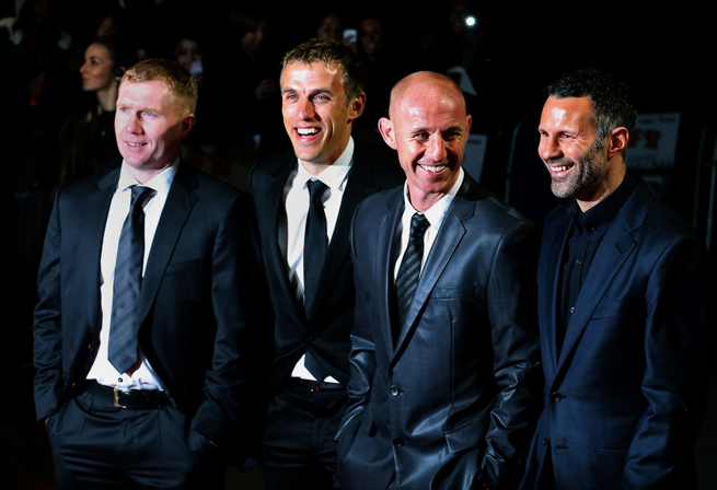 From left, Paul Scholes, Phil Neville, Nicky Butt and Ryan Giggs, former Manchester United teammates, will take charge of the Red Devils in the interim while the club looks to replace ousted manager David Moyes.