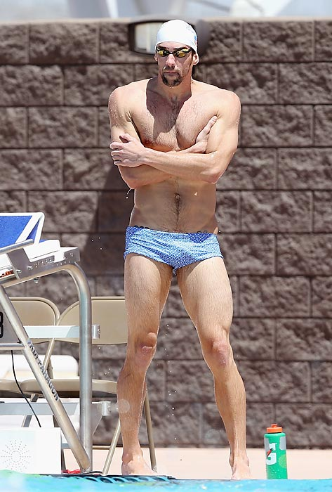 The iconic swimmer was reminded that pools can be quite chilly as he practiced for the Arena Grand Prix at the Skyline Aquatic Center in Mesa, Arizona.