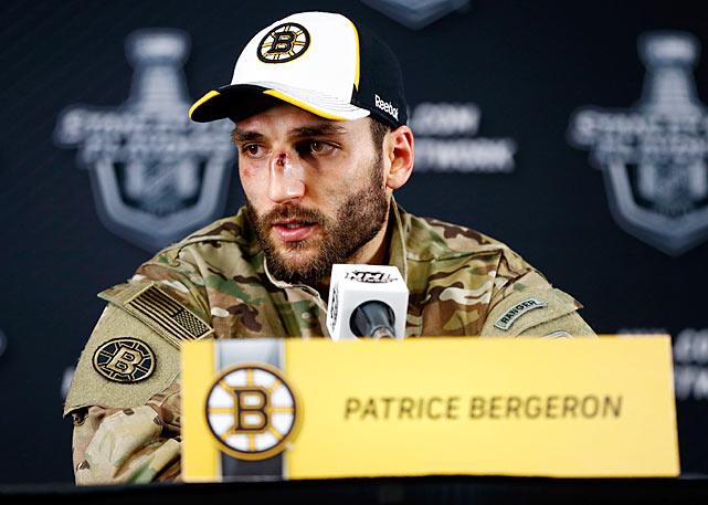 The Boston Bruins center greeted the media after Game 3 of the 2013 Eastern Conference Finals sporting a nasty gash on his beak.