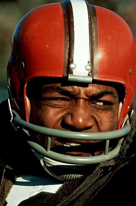 A closeup of Jim Brown during a game versus the Green Bay Packers in Milwaukee.