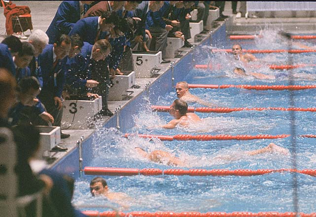 American swimmer Don Schollander (Lane 4) wins a preliminary race at the Tokyo Olympics. Schollander took home gold in the 400-meter freestyle and three other events, making him the most decorated Olympian at the 1964 Games.