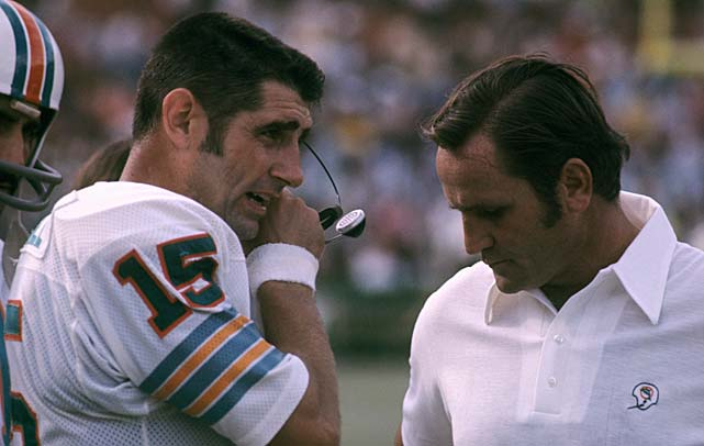 Morrall and and head coach Don Shula on the sidelines during a game against the New England Patriots in November 1972.