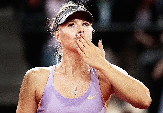 Maria Sharapova won her third straight Porsche Grand Prix Sunday after dropping the first set.