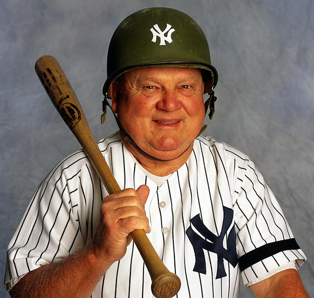 Zimmer dons a custom military helmet during an SI photo shoot at Yankee Stadium. Zimmer spent eight seasons as bench coach of the Yankees.