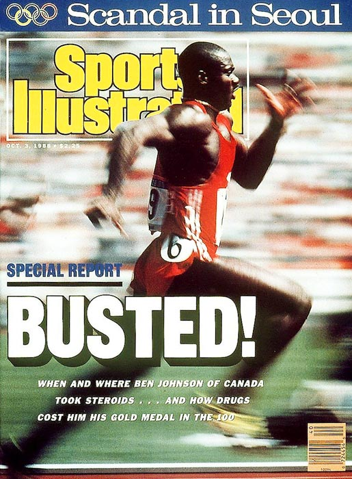 Ben Johnson tested positive for stanozolol after his world-record, gold medal-winning performance in the 100 meters at the 1988 Olympics in Seoul, South Korea. He initially denied knowingly using steroids, but he later admitted it during a Canadian government inquiry. After serving a suspension and being stripped of his medal and record, Johnson returned to racing, only to test positive for testosterone doping in 1993 and earn a lifetime ban.