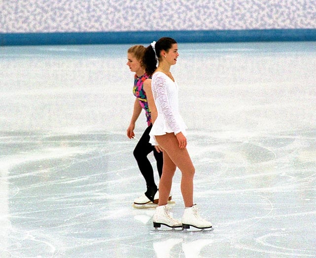 Tonya Harding, left, and Nancy Kerrigan, right, were American Olympic figure skating rivals, fighting to lead the U.S. team in the 1994 Games. Harding took things overboard -- hiring a hitman to take a whack at Kerrigan's knee -- which prevented her from competing in the U.S. championships. When the facts came out, Harding was banned from competition for life. Kerrigan went on to win Olympic silver that year.