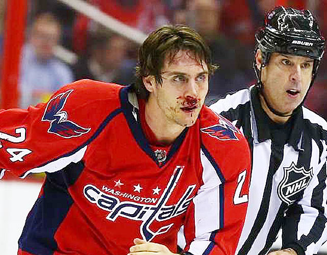 While players often grow playoff beards, this Washington Capitals winger sprouted a scarlet mustache after sharing knuckle sandwiches with Mike Brown of the San Jose Sharks in a January 2014 game.