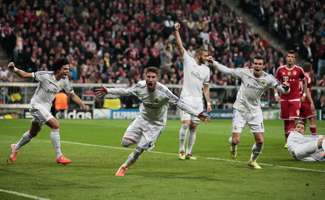 Sergio Ramos, second from left, celebrates one of his two goals in Real Madrid's thrashing of Bayern Munich on Tuesday.