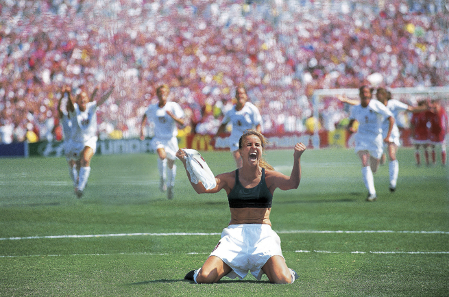 Brandi Chastain provides the lasting image of the 1999 Women's World Cup, ripping off her shirt and celebrating after her cup-clinching penalty against China at the Rose Bowl.