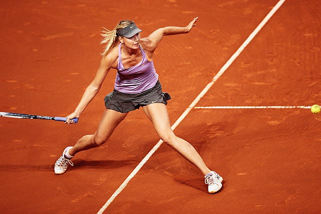 Maria Sharapova rips a forehand during a semifinal match against Sara Errani of Italy on day six of the Porsche Tennis Grand Prix in Stuttgart, Germany.