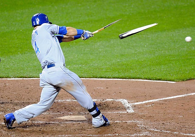 Kansas City Royals outfielder Alex Gordon breaks his bat as he grounds out against the Baltimore Orioles.