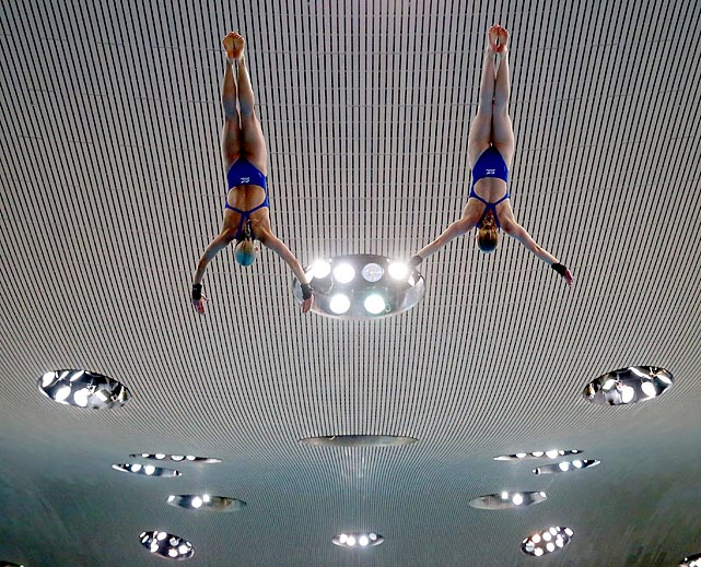 Tonia Couch and Sarah Barrow of Great Britain practice prior to the 10-meter Synchro Platform Final at the FINA/NVC Diving World Series in London, England.