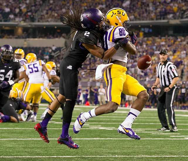 Oh, but for another couple inches of height. That (and offseason shoulder surgery) is really all that is standing between 5-foot-9 Jason Verrett being a lock in the top 20. Even though he may be undersized by NFL standards, Verrett thrived at TCU despite matching up with bigger receivers. He may have to begin showing his wares as a slot corner at the next level, though it is far from out of the question that a defensive coordinator tries out Verrett as a top-two guy. Look no further than Verrett's stats for evidence of his ball-hawking abilities: 22 pass break-ups in 2012, 14 more in '13, plus nine career picks. <italics>Draft projection: Late Round 1</italics>
