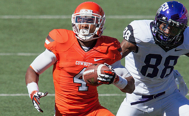 Justin Gilbert was one of the stars of the 2014 combine, posting a sub-4.4 40 time and tossing up 20 reps on the bench press. At 6-0 and a bit more than 200 pounds, he fits the mold NFL teams are searching for at the cornerback position -- big, strong and athletic. Like 2011 first-rounder Patrick Peterson, Gilbert also put in some quality work as a return man. He averaged 26.3 yards per kickoff return during his Cowboys career, while taking six back to the house. Gilbert, who shows a knack for making plays on the ball, picked off seven passes this past season. No one would raise an eyebrow if Gilbert became the first corner drafted this year. <italics>Draft projection: Top 20 </italics>