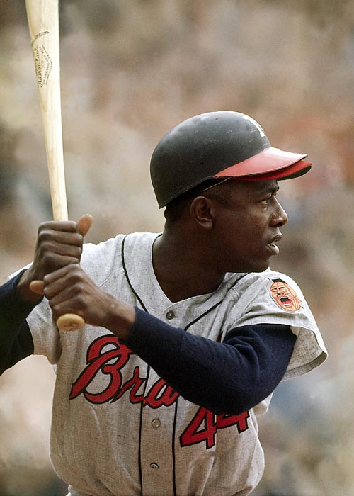 Hank Aaron at bat against the Los Angeles Dodgers.