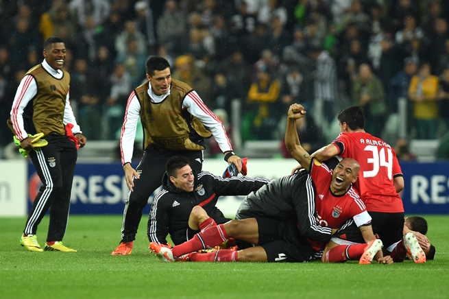 Luisao, right, celebrates Benfica's scoreless draw with Juventus, which sealed the club's return to the Europa League final.