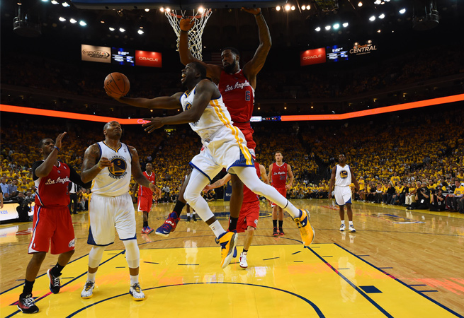 Draymond Green's (center) 14 points and 14 rebounds were a key part of Golden State's Game 6 win.