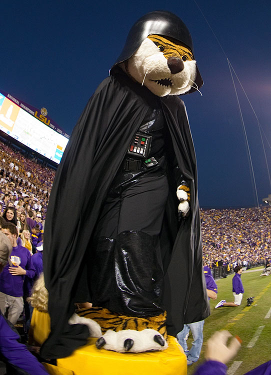 LSU Tigers mascot Mike the Tiger entertains the crowd dressed as Darth Vader during a game against the Furman Paladins on Oct. 26, 2013 at Tiger Stadium in Baton Rouge, La.