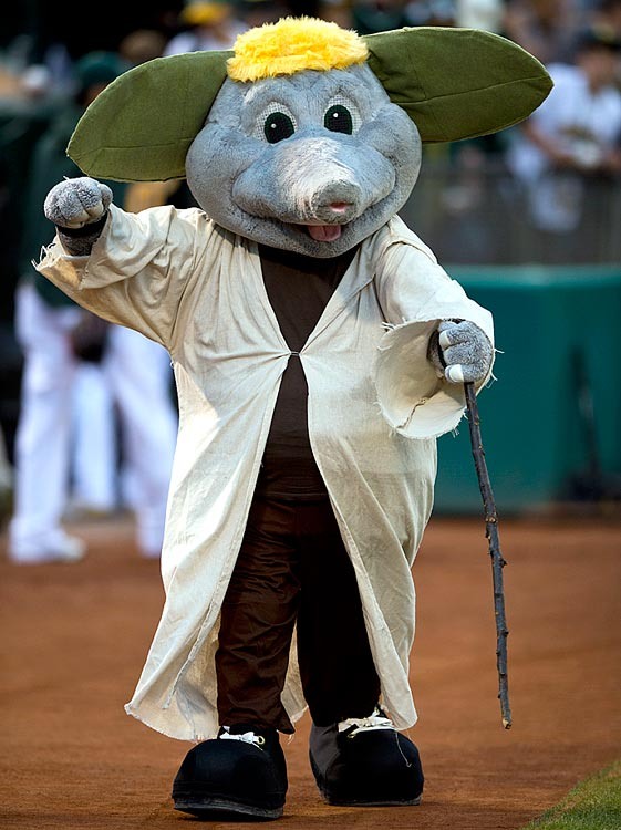 Oakland Athletics mascot Stumper dressed as Yoda before the A's game against the Minnesota Twins at O.co Coliseum on Sept. 20, 2013 in Oakland, Calif.