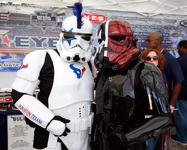 Houston Texans themed Stormtroopers pose for a photo outside Reliant Stadium prior to the Texans hosting the Cincinnati Bengals during their 2012 AFC Wild Card Playoff game on Jan. 7, 2012 in Houston.