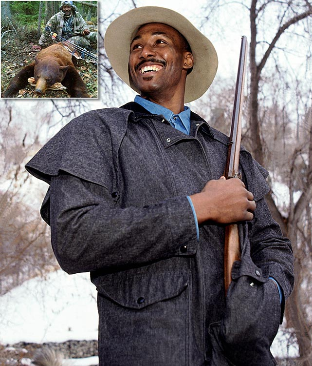Karl Malone couldn't beat the Bulls, but he did just kill a bear, which will have to serve as some consolation for his Chicago woes. Malone and his son (who posted the inset photo via Instagram) went on a hunting trip this weekend, where the former NBA player took down a bear with his compound bow. Malone is an avid hunter who has expressed how much he enjoys hunting black bears in the past. While there isn't a lot of information about where this took place, bear hunting is legal in 27 states. Here's a gallery of athletes who love to hunt.