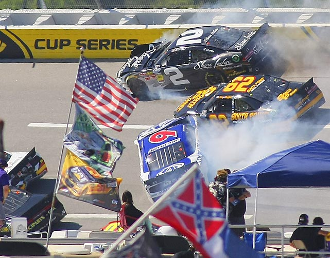 Brian Scott (2) and Brendan Gaughan (62) collide near Turn 4 during the NASCAR Aaron's 312 Nationwide series auto race at Talladega Superspeedway.